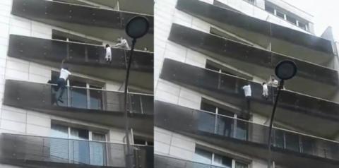 Veja o Vídeo: Homem salva criança que estava pendurada em varanda de prédio
