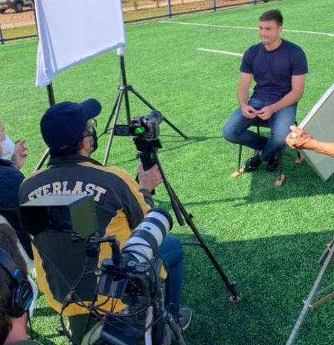 Jogador Daniel Fuzato grava entrevista para Escola de Goleiros - O Filme